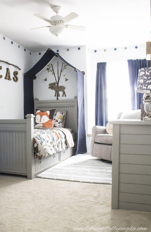 One Room Challenge Week 6 Woodland Big Boy Room Reveal In 2021 Shared Girls Bedroom Toddler Room Decor Boy Room One room challenge week one
