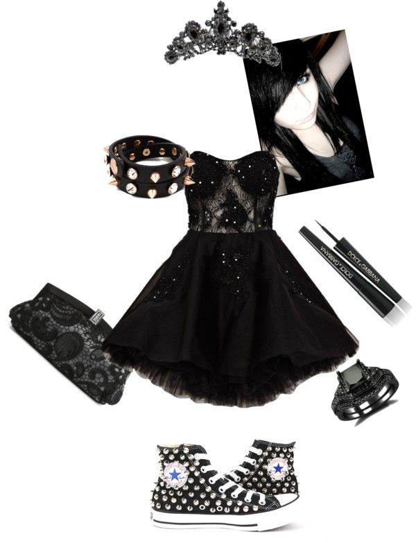 """Emo Prom"" by watersky on Polyvore... not that I'm emo but I love the dress abd the shoes together:))))"