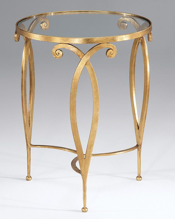 round hand-wrought iron table with scroll design,antique gold leaf finish and glass top