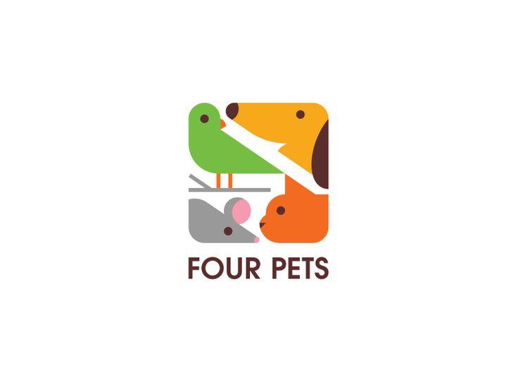 logo four pets (oiseau, chien, souris et chat)