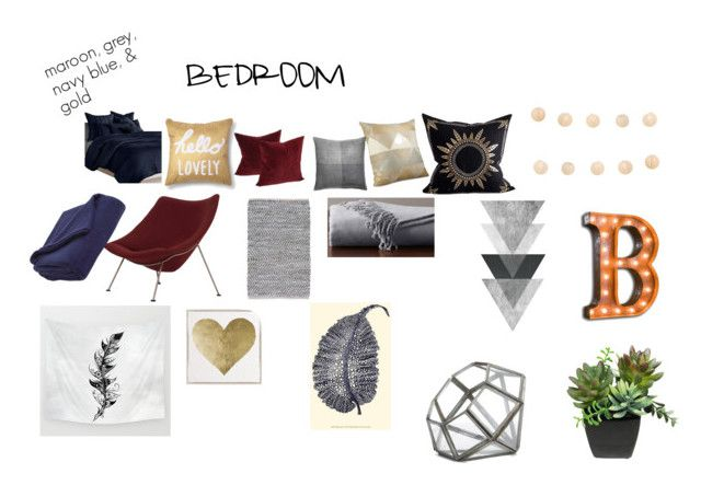 """""""Bedroom"""" by ahyonnapitts on Polyvore featuring interior, interiors, interior design, home, home decor, interior decorating, Pottery Barn, Xhilaration, DKNY and Décor 140"""