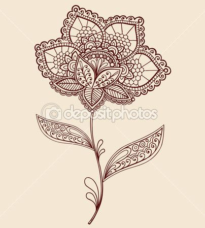 alheña encaje flor doodle vector illustration — Ilustración de stock #8248668