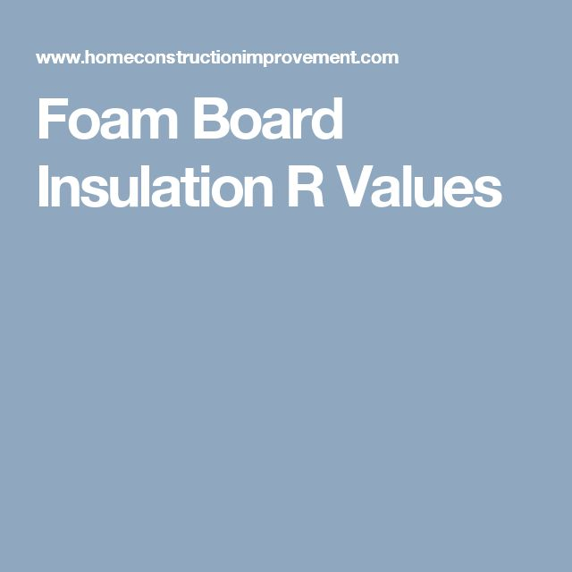 Foam Board Insulation R Values