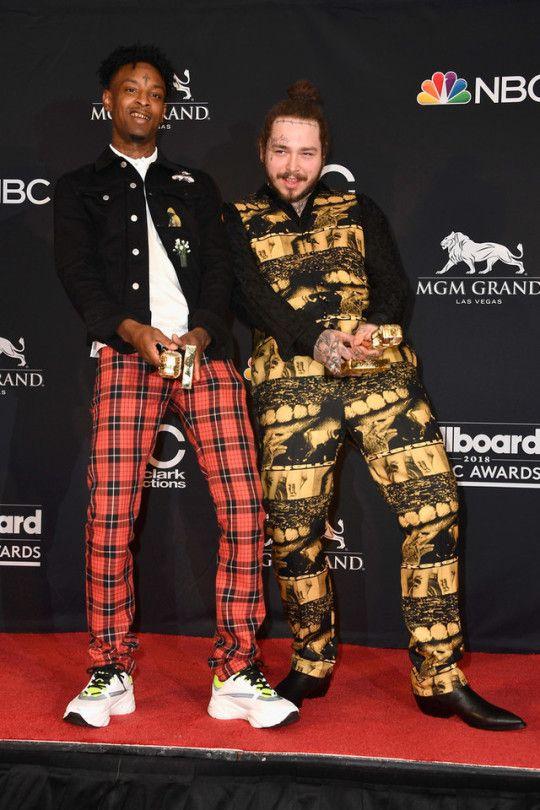 Post Malone & 21 Savage accept Top Rap Song award at 2018