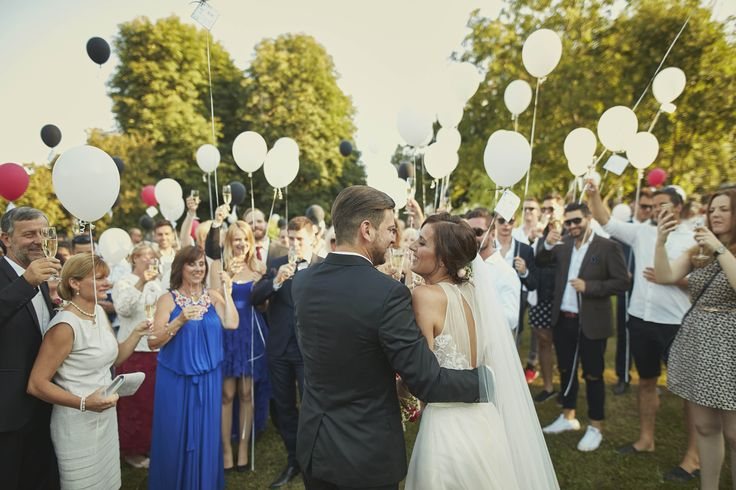 Just married! Celebrating with balloons