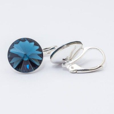 Swarovski Rivoli Earrings 12mm Montana  Dimensions: length: 1,7cm stone size: 12mm Weight ~ 3,18g ( 1 pair ) Metal : silver plated brass Stones: Swarovski Elements 1122 12mm Colour: Montana 1 package = 1 pair Price 16,90 PLN(about 4 EUR)