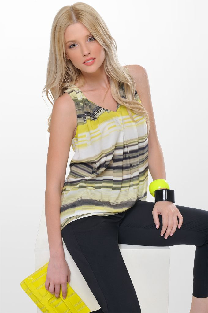 Sarah Lawrence - V neck printed top with pleats, cropped city pant with belt.