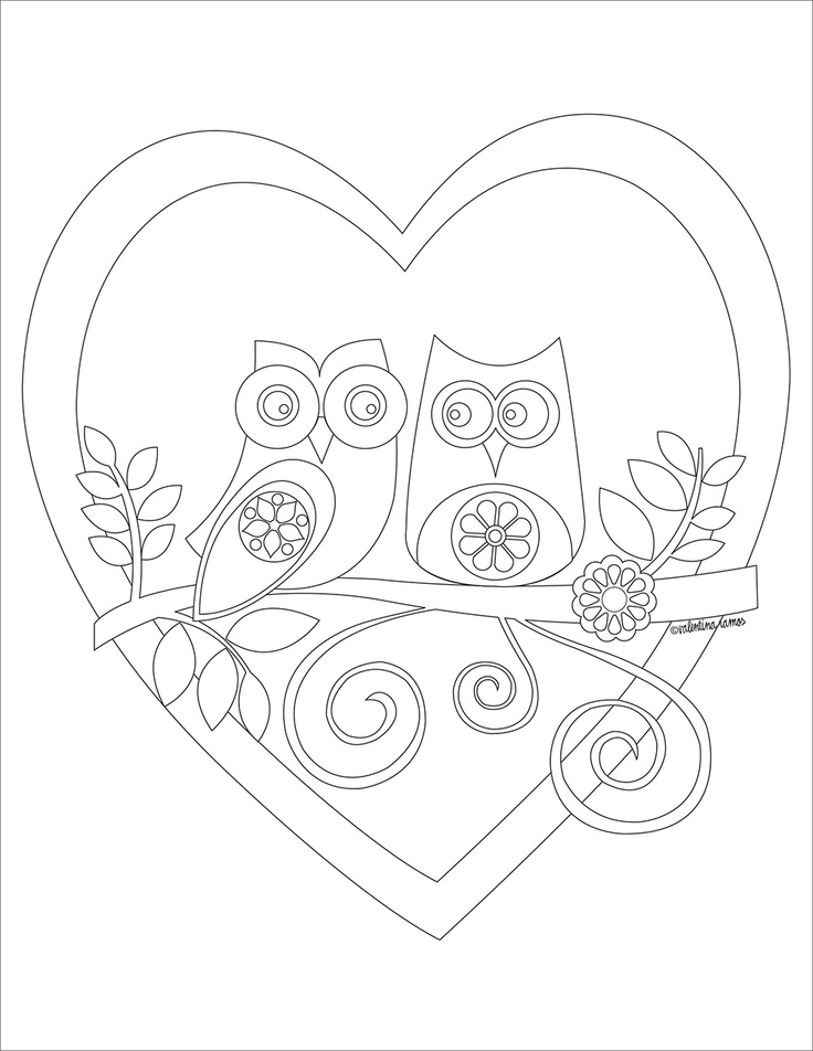valentines day coloring pages owls - photo#4