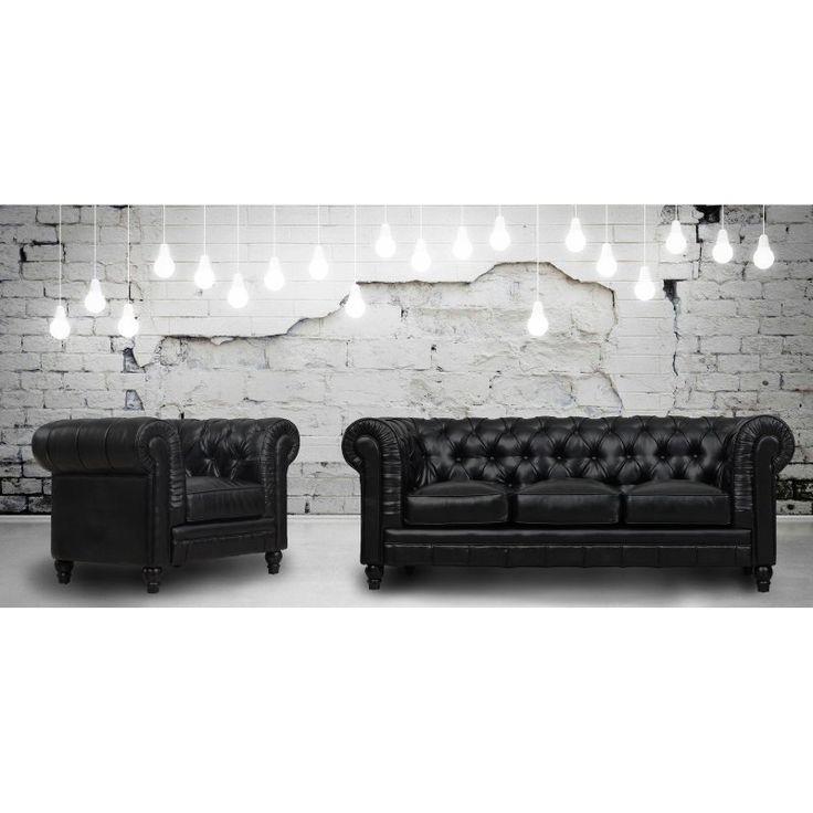 TOV Furniture Zahara Leather Living Room Set Black - TOV-S24-B-SET
