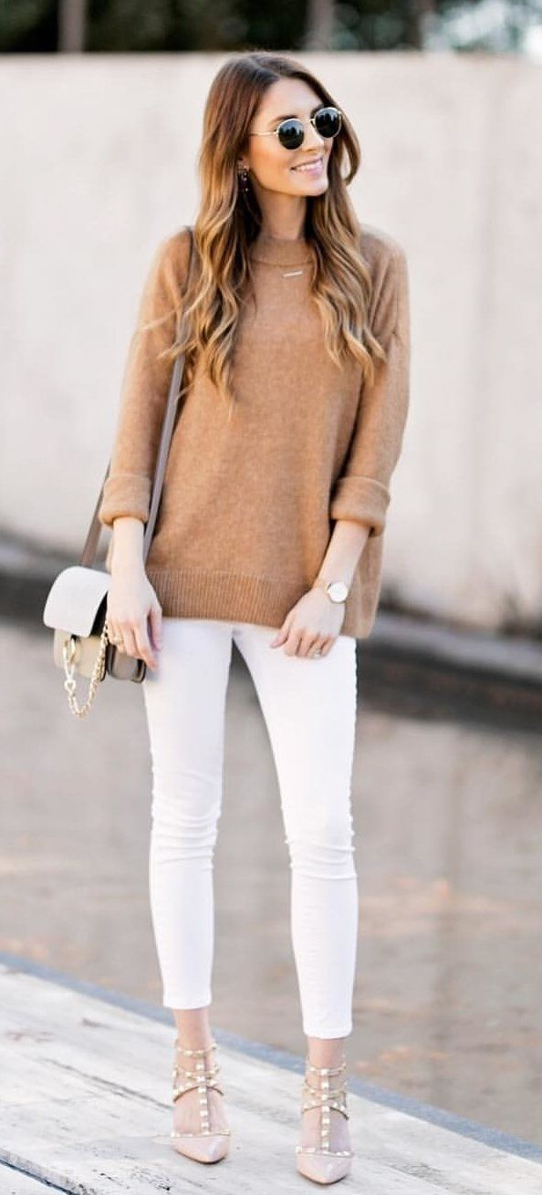 #winter #outfits brown jacket and white pants outfit