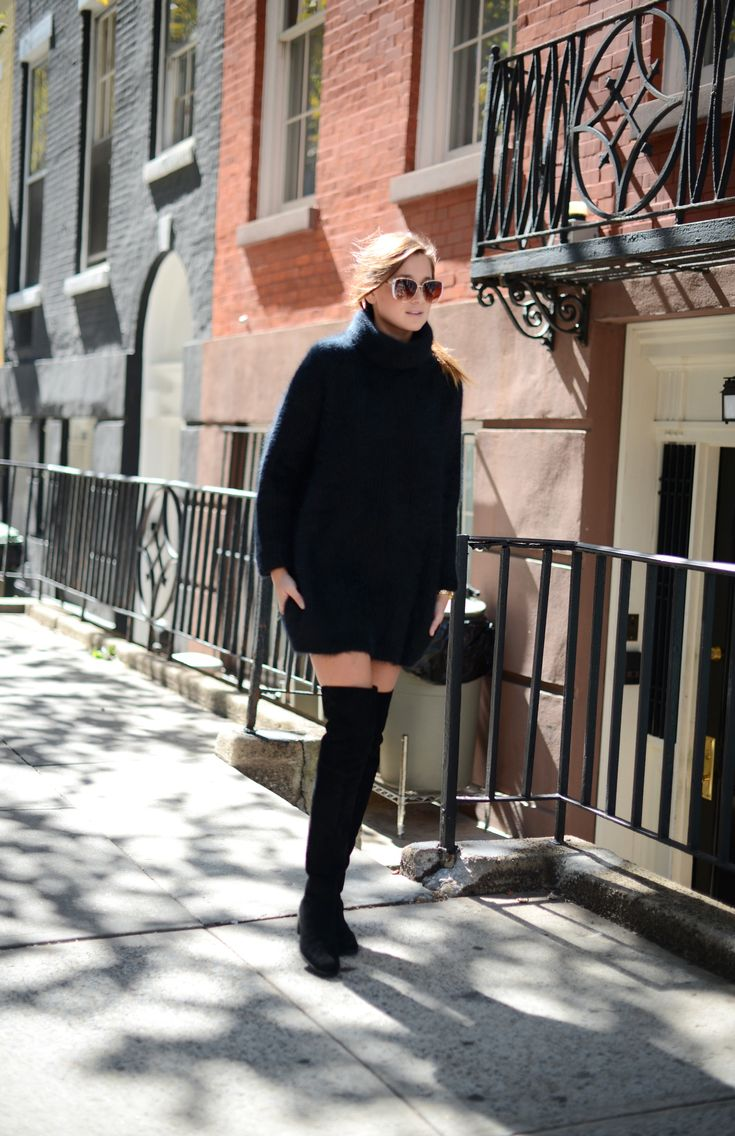This Fall long black sweater with over knee socks