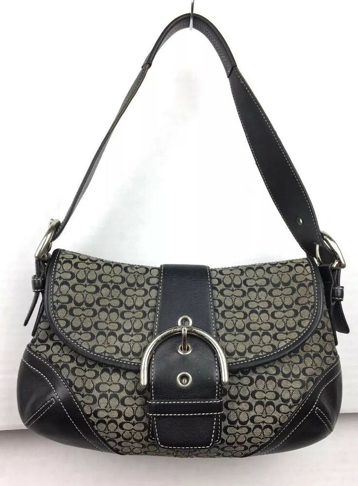 fcbfa933 Details about COACH Black Signature Jacquard Small Wristlet ...