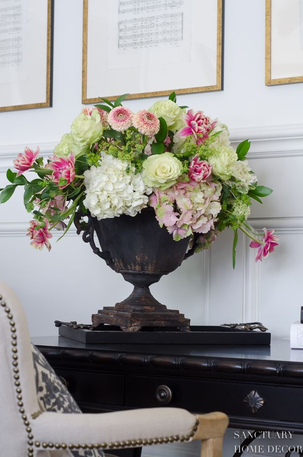 Ideas For Styling A Rustic Elegant Living Room Sanctuary Home Decor Hydrangea Flower Arrangements White Flower Arrangements Pink Hydrangea Centerpieces