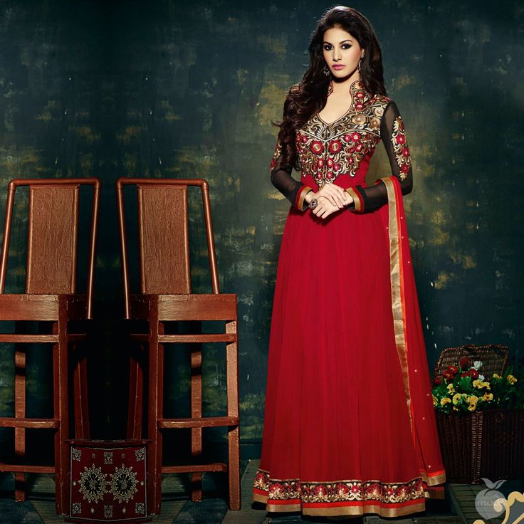 Oneline Store: Peach Mode  Offer: Shaded Red Dual Style Anarkali ...