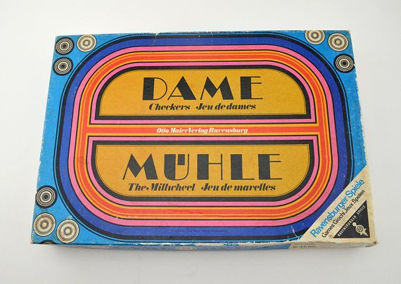 Vintage Dame Muhle Checkers Game German Ravensburger Spiele