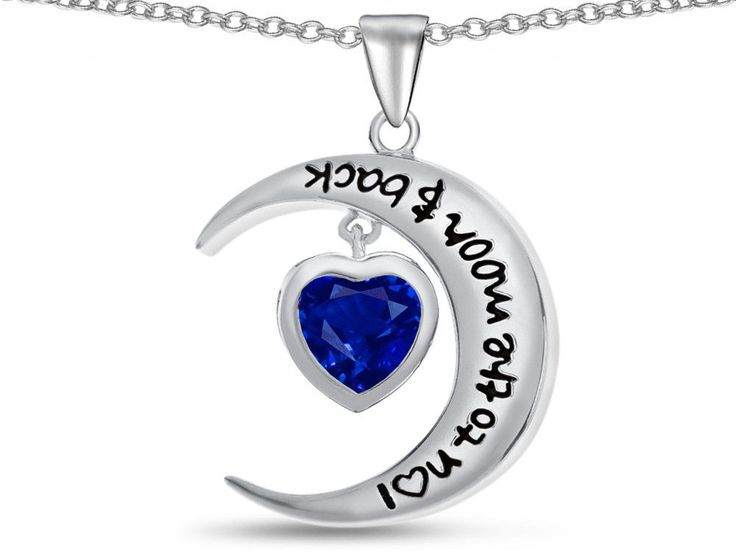 """Star K"""" I Love You To The Moon and Back """" Created Sapphire 7mm Heart Pendant Necklace"""