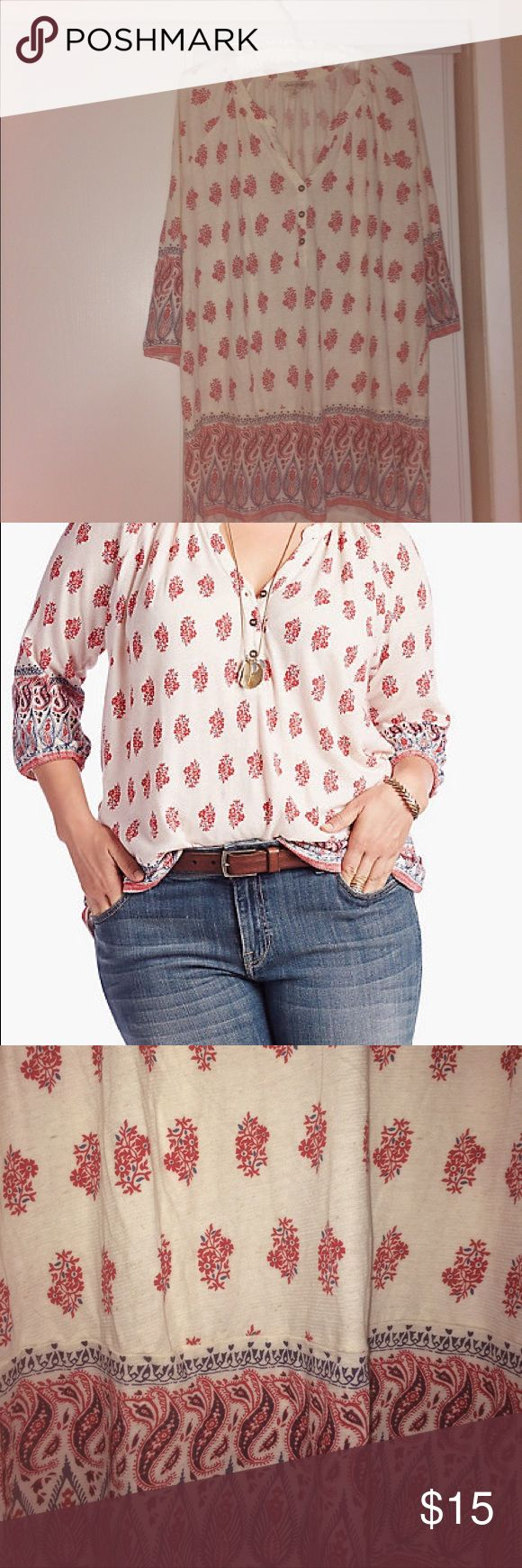 Lucky Brand Red Woodblock Border Top New with tag removed (tag is available). 3/4 length sleeves. Super cute and the fabric very soft. Lucky Brand Tops Blouses