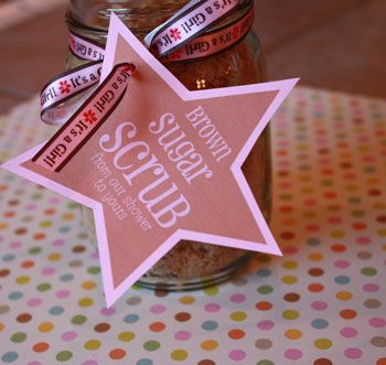Easy DIY Brown Sugar Scrub to make for baby shower favors! You can even print off some FREE favor tags!