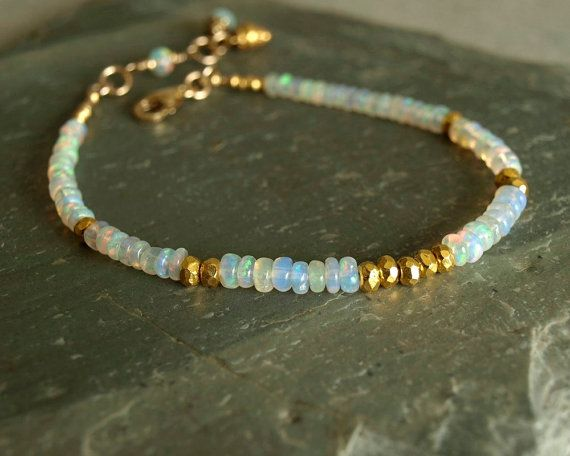 Ethiopian Opal Bracelet, natural Welo smooth fire opals, gold vermeil beads, 14K…