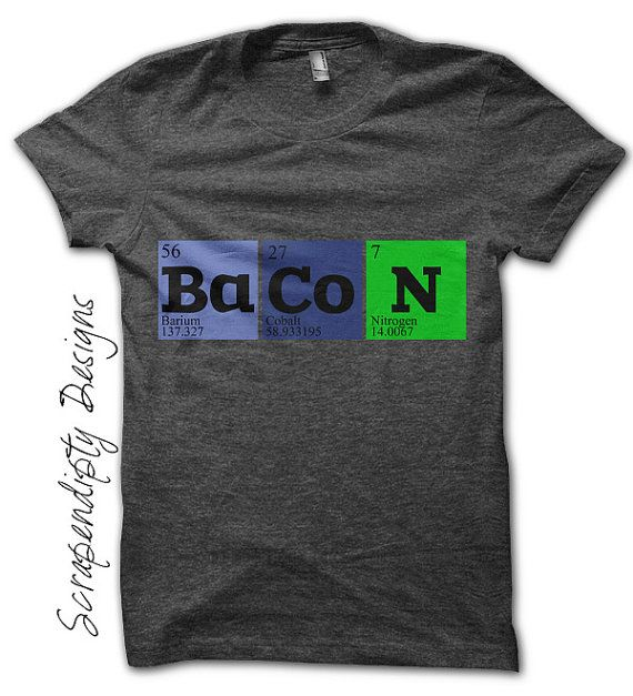 Iron on Bacon Shirt PDF - Geek Iron on Transfer / Funny Periodic Table Tshirt by ScrapendipityDesigns, $2.50