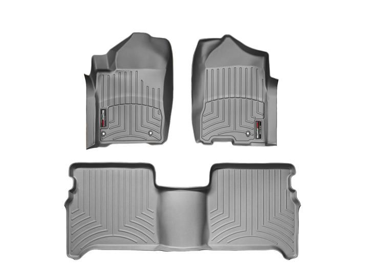 2008-2011 Nissan Titan (Fits Crew Cab with two retention hooks on driver side) - Front and Rear Floorliners (Grey)