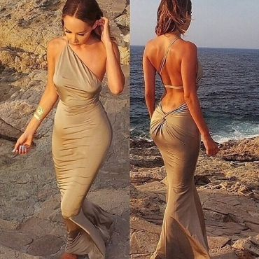 Sexy One Shoulder Sleeveless Backless Gold Sheath Ankle Length Dress