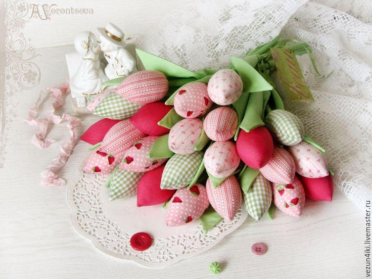 Купить Букет из 25 тюльпанов (в клубничку) - розовый, тюльпаны, тюльпаны из ткани, тюльпаны тильда