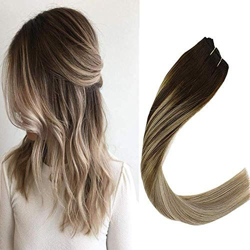 Buy VeSunny 22 Balayage Weft Sew Hair Extensions Real Human Hair Color 4 Dark Brown Fading 14 Mix 60 Platinum Blonde Double Weft Remy Human Hair Bundles Grade 7A 100G online