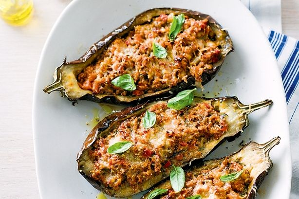 Bolognese-stuffed eggplants - would probably work with spaghetti with basic meat sauce and be simpler