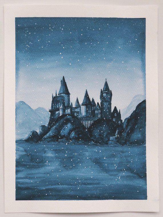 Chateau De Harry Potter Poudlard Impression A L Aquarelle En 2020