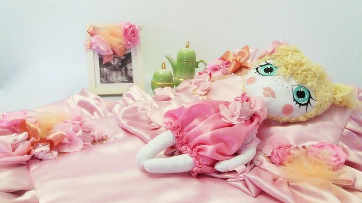 Handmade Elegant Pink Victorian Style Baby Blanket Set