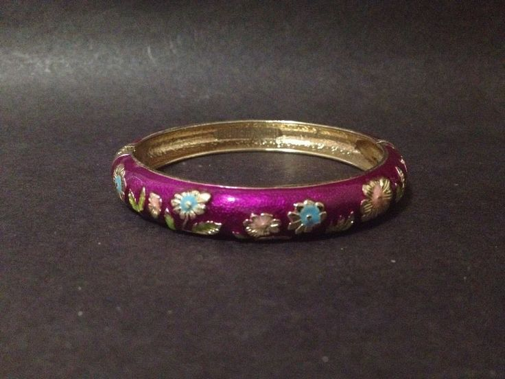 Pre Owned Purple Cloisonne Enamel Flowers Bangle - Openable Hinged
