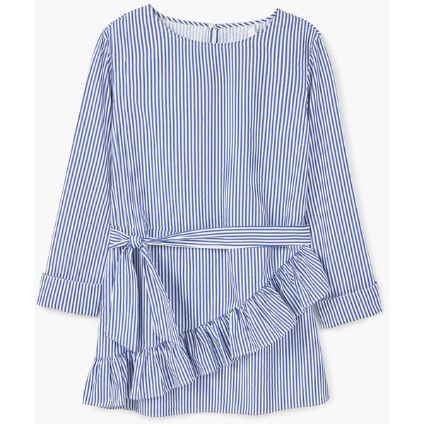 MANGO Striped Poplin Blouse ($50) ❤ liked on Polyvore featuring tops, blouses, stripe blouse, ruffle top, blue ruffle blouse, long sleeve ruffle blouse and flounce tops