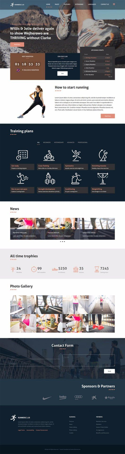 JM Sport - template for Joomla 3.x The template is based on EF4 powerful framework. Responsive layout, integrated with Bootstrap + LESS support.  Example for running sites.    Template details: https://www.joomla-monster.com/joomla-templates/i/218-jm-sport Demo site: http://demo.joomla-monster.com/250-jm-sport