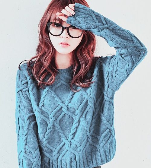 I really like this ensemble with the round glasses and the blue sweater.