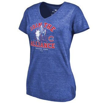 Women's Chicago Cubs Fanatics Branded Royal MLB Star Wars Join The Alliance Tri-Blend V-Neck T-Shirt