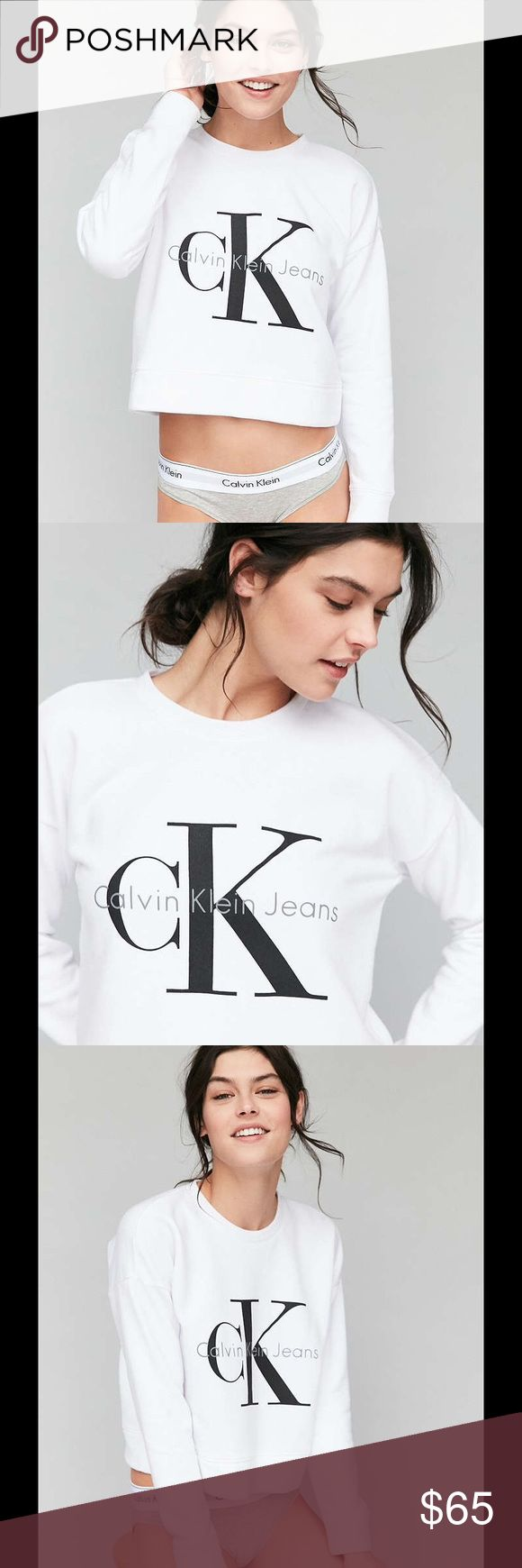 """Urban Outfitters Calvin Klein Cropped Sweatshirt NOT FOR SALE!! Do not buy this listing.  Download the Dote Shopping app and get this sweatshirt for $65 plus free shipping using the promo code """"PDIN."""" Urban Outfitters Tops Sweatshirts & Hoodies"""
