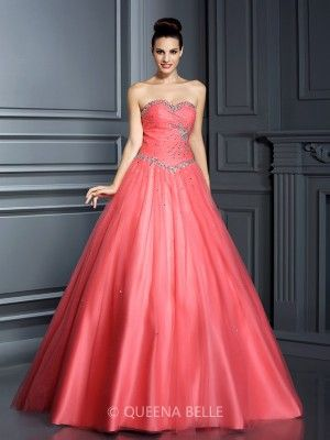 Ball Gown Sweetheart Sleeveless Beading Floor-Length Net Quinceanera Dresses - Prom Dresses - Occasion Dresses - QueenaBelle 2017