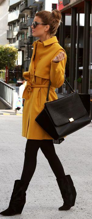 Very adorable and classy fall look! Bright Jacket, dark leggings, Stylish boots and handbag.