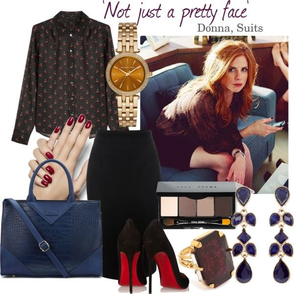 'Not Just A Pretty Face' Outfit inspiration for Donna Paulsen from Suits feat. the Timeless Elegance Tote (http://www.jijikiki.com/products/timeless-elegance-tote-bag)  #polyvore #ootd