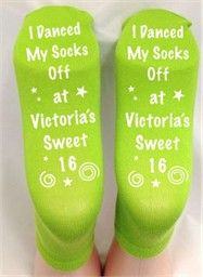 Sweet 16 Party Favors - Personalized Birthday Grippy Socks.  Minimum of 48 pieces.