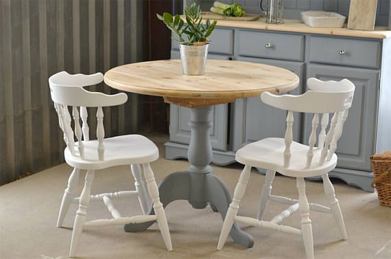 Pedestal round kitchen table, cottage dining table, dining table and chairs, pub style table, grey pine table, pine table, painted fur