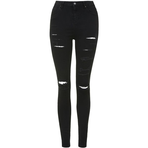 TOPSHOP MOTO Super Ripped Jamie Jeans ($80) ❤ liked on Polyvore featuring jeans, pants, bottoms, calças, black, high-waisted jeans, high-waisted skinny jeans, skinny ankle jeans, high rise skinny jeans and black ripped jeans