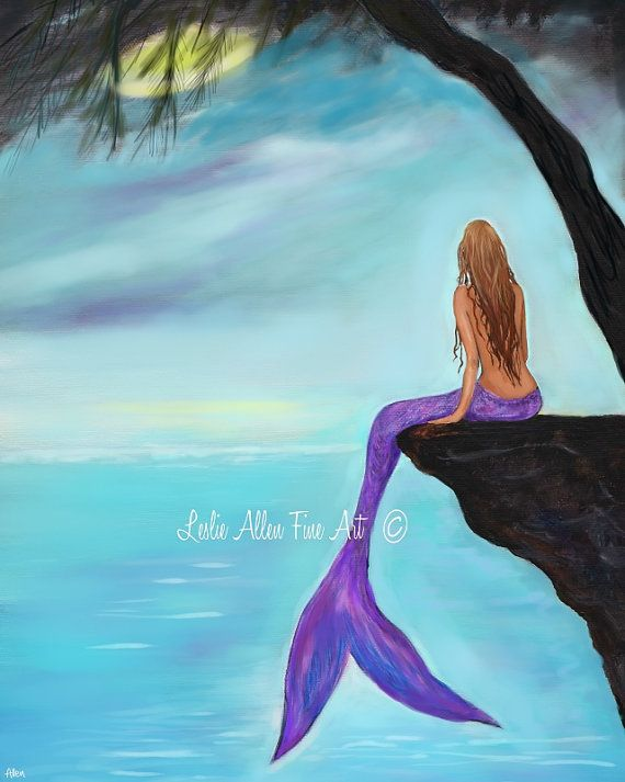 Mermaid ART PRINT GICLEE Mermaids Wall Art by LeslieAllenFineArt