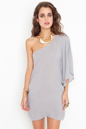Asymmetric Flare Dress in Dove Grey 48.00
