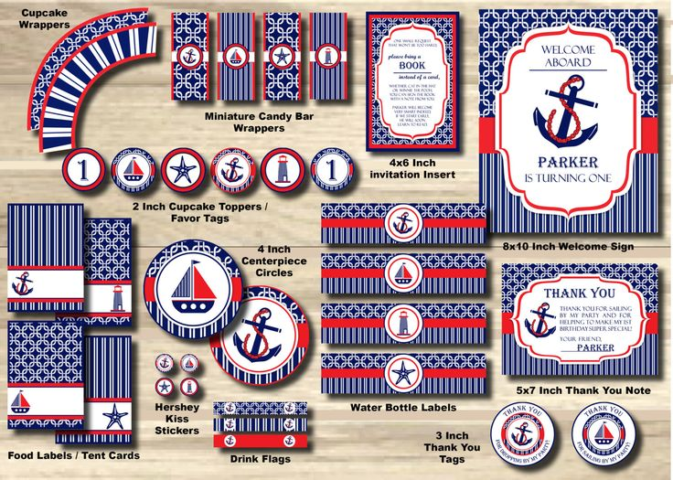 Anchor Birthday Party Package, Nautical Party Pack, Sailor Package, Sailboat - 1st Birthday Party PRINTABLE, Pool Red Girl Boy, turning ONE by StorybookLaneCrafts on Etsy https://www.etsy.com/listing/236772756/anchor-birthday-party-package-nautical