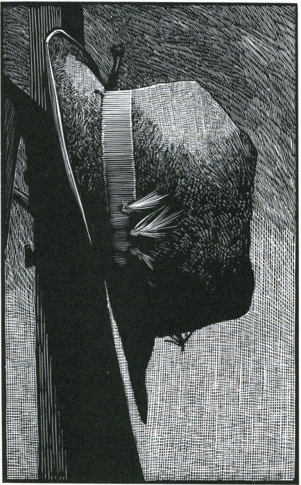 Barry Moser ~ Paul MacLean's fishing hat, 1989 (wood engraving):