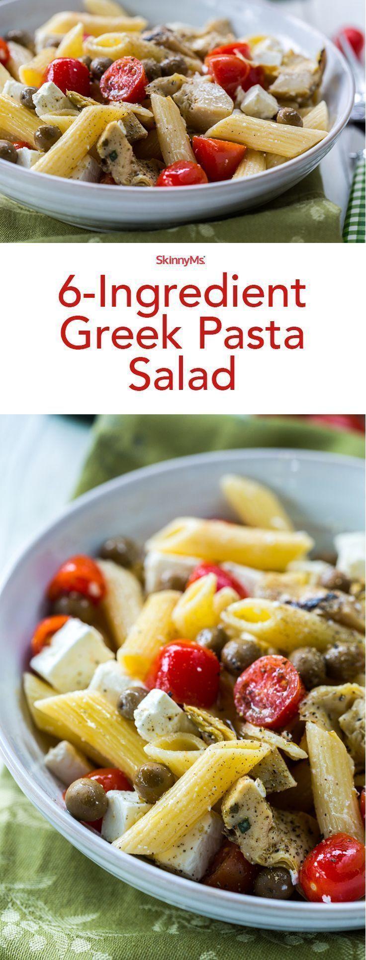 6-Ingredient Greek Pasta Salad! #skinnyms