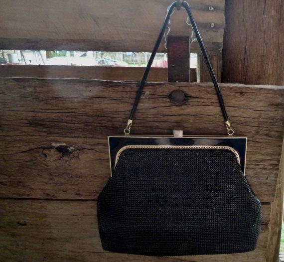 1960s black Glomesh handbag ~ vintage Glomesh tote bag