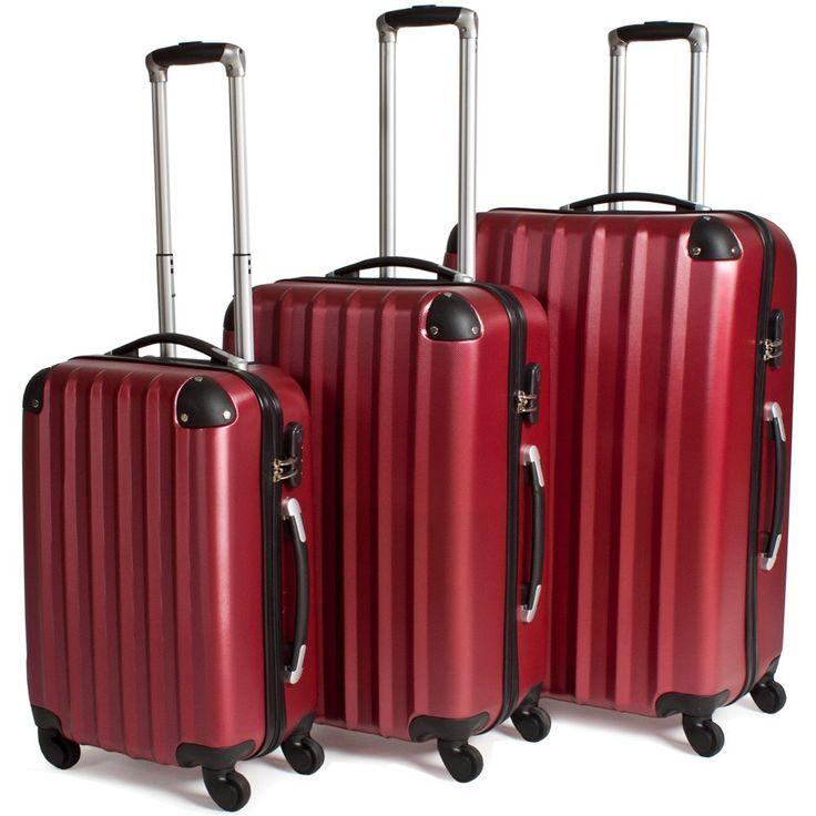 Rejsekuffertsæt 3-dele hardcase med hjul vinrød